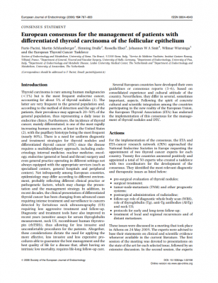 European consensus for the management of patients with differentiated thyroid carcinoma of the follicular epithelium