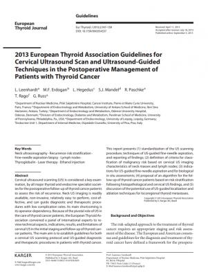 2013 EUROPEAN THYROID ASSOCIATION GUIDELINES FOR CERVICAL ULTRASOUND