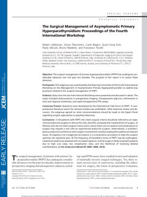 The Surgical Management of Asymptomatic Primary Hyperparathyroidism: Proceedings of the Fourth International Workshop