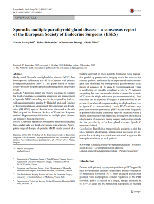 Sporadic multiple parathyroid gland disease - a consensus report of the European Society of Endocrine Surgeons (ESES)