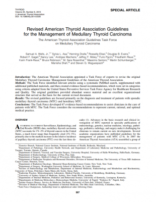 Revised American Thyroid Association Guidelines for the Management of Medullary Thyroid Carcinoma