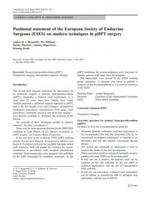 Positional statement of the European Society of Endocrine Surgeons (ESES) on modern techniques in pHPT surgery