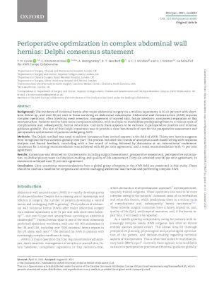 Perioperative optimization in complex abdominal wall hernias: Delphi consensus statement